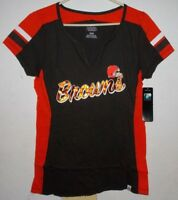 Women's Majestic NFL Cleveland Browns Football Jersey T-Shirt Draft Me Top MED