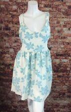 Zara Trafaluc Ivory Blue Floral Open Back Cocktail Sheath Dress Size M