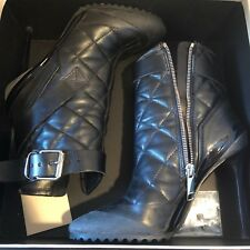 BURBERRY QUILTED BRIT BLACK LEATHER ANKLE SHOES BOOTS BOOTIES  36.5 / 6.5