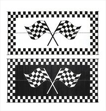 Outdoor Patio Deck RV Mat Reversible Rug 8 x 20 ft Foldable Black White Racing