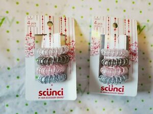Scunci Spiral Pony Tail Holders With Inner Beads 2 Packs Pinks Silver Gray New