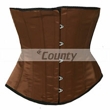 Underbust Brown Satin Corset Full Steel Boned Spiral Basque Heavy Lacing Shaper