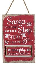 Christmas Handcrafted Wooden Naughty & Nice Santa Please Stop Here Plaque Sign