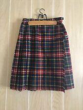 Vintage Courtelle Tartan Plaid Pleated Wool Knee Length Skirt