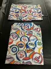 Vintage MLB Baseball Twin Bed Flat Sheet 1994 Red Sox Yankees Astros Dodgers x2