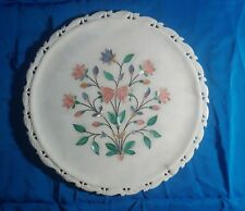 Vintage alabaster with mother of pearl inlay plate