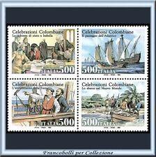 1992 Italia Repubblica Blocco Colombo Quartina Celebrazioni Colombiane **