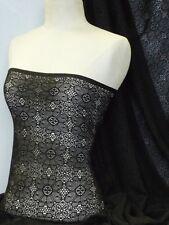 Black daisy stretch crochet knit lace fabric Q875 BK