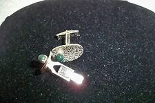 Stone That Could Be Jade Vintage Cufflinks Signed Pioneer Silvertone w/Green