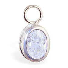 Changeable Oval CZ Belly Ring Swinger Charm