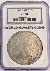 France 1762L Ecu Silver Coin Louis XV Paris NGC AU58