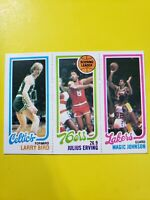 1980-81 Topps Basketball Larry Bird & Magic Johnson ROOKIE RC + Dr J Iconic Card