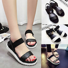 Summer Women Lady Open Toe Ankle Strap Flat Roman Sandals Platform Wedges Shoes