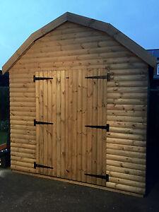 Garden Shed 8x12 Dutch Barn Heavy Loglap Wooden with Windows