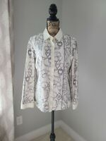 J. McLAUGHLIN Long Sleeve Blouse Size XL Button Up Ivory Gray
