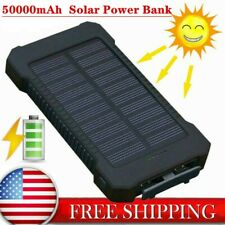 Solar Waterproof USB Charger LED Power Bank Mobile Portable Battery USB 50000mAh