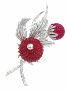 Beautiful Flower Design CZ 925 Sterling Silver Red Invisible Set Floral Brooch