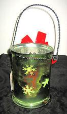 Christmas Basket Evergreen Green Flashed Glass Votive Candle Holder Jar Lantern