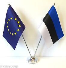 European Union EU & Estonia Flags Chrome and Satin Table Desk Flag Set
