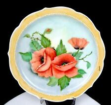 """STUBBS SIGNED PORCELAIN HANDPAINTED POPPIES TAN BORDER SCALLOPED 10 1/2"""" PLATE"""