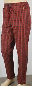 POLO Ralph Lauren Red Black Plaid Pajamas Lounge Sleep Pants Yellow Pony