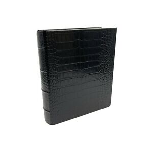 Graphic Image Black Crocodile Embossed Leather 3- Ring Clear Pocket Photo Album