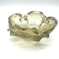 Vintage Murano Art Glass Amber Honey Bullicante Ashtray Controlled Bubbles Italy