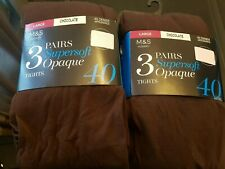 Neues AngebotM&s 3 Pack 40 Denier superweicher Opaque tights Size L Large 6 Paar