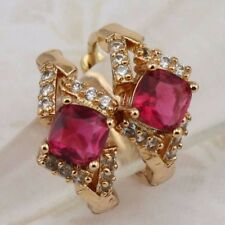 Lovely Ruby Red Princess Gems Jewelry Yellow Gold Filled Huggie Earrings h2919