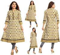 Women Indian Long Cotton Kurti Tunic Kurta Shirt Dress A-Line NK07 YELLOW