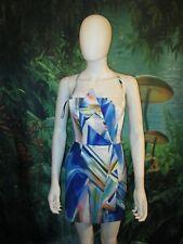 Bebe Dress Small Strapless Bodycon Rainbow Multi Color  XS  (A)