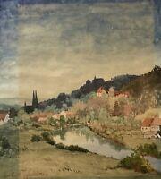 Süddeutsche Landschaft am Fluss 1939 Gustav Pippart 29,5 x 26,5 cm