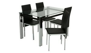Home Fitz Clear Glass Dining Table & 4 Black Chairs
