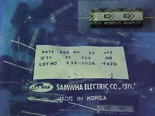 Samwha, 22uF, 450v, 105 degrees C, axial mount, electrolytic capacitors, Lot/35