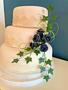 WEDDING CAKE NAVY BLUE ROSES SIDE SPRAY CRAFTED IN SUGAR,  PRICED TO CLEAR