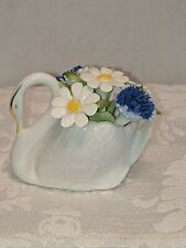 Vintage Royal Doulton Bone China Swan Figurine with Blue and White Flowers