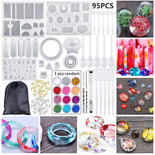95PCS Resin Casting Silicone Molds Epoxy Spoon Jewelry Making Pendant Craft Kits