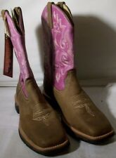 NEW WOMEN'S LADY REBEL BY DURANGO WESTERN BOOT (DRD0050) BROWN PINK 8 WIDE $140