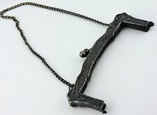Vintage Antique German Silver Purse Frame Victorian Kiss Lock Chain Handle