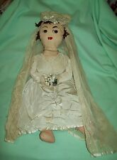 Vintage Folk Art Primitive BRIDE DOLL Cloth Rag Lace BOBBIN lace trim Veil  OOAK
