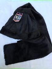Ladies BLACK Winter Suede Hat Scarf Set Beanie Warm 100% Polyester Ladies NEW