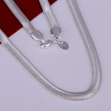 Hot Sale 925 Sterling Solid Silver Plated 6mm Flat Snake Chain Necklace 16
