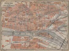 Rouen antique ville city plan de la ville. seine-maritime carte 1909 old map