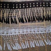 US 3Yard Tassel Lace Trim Flower Applique Fringe DIY Ribbon Sewing Craft Wedding