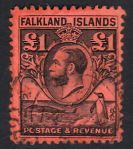 Falkland Islands. SG 126, £1 black/red. Very fine used. Cat £425.