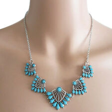 New Fashion Jewelry Womens Blue Beads Charms Choker Silver-Color Chain Necklaces