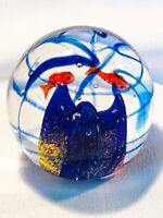"""Art Glass Murano Style Fish Aquarium Paperweight Round Glass 2 3/4"""" X 3"""" 15.3 oz"""