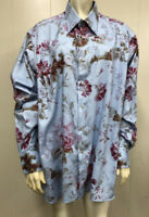 Ike Behar Floral Print Long Sleeve Button Up Shirt Size Large