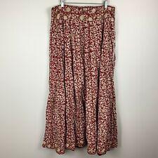 VTG 70s 80s Maxi Skirt India Cotton Block Print Burgundy Women's Size Large Boho