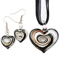 Black Silver Swirl Heart Lampwork Glass Murano Pendant Necklace Earrings Set